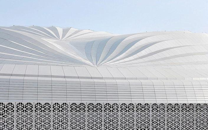 Inaugurated in 2019 and commissioned for the 2022 World Cup, the Al Janoub Stadium takes design inspiration from local boats, called dhows. One of the most impressive aspects of the stadium is the operable roof section spanning over 300 feet, designed by Schlaich Bergermann Partner, which complements the structure's pleated roof and covers the field during the summer.
