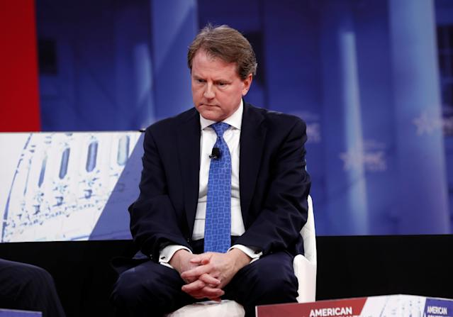 <p>White House Counsel Don McGahn takes part in an interview at the Conservative Political Action Conference (CPAC) at National Harbor, Md., Feb. 22, 2018. (Photo: Kevin Lamarque/Reuters) </p>