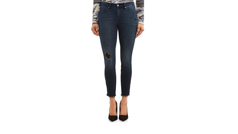 Sofia Skinny Destructed Frayed Hem Mid Rise Ankle Jean. (Photo: Walmart)