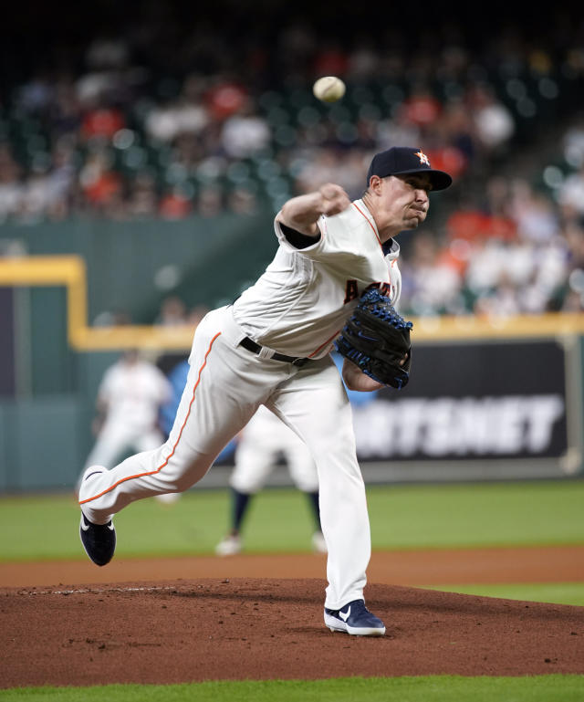 Houston Astros starting pitcher Aaron Sanchez throws against the Detroit Tigers during the first inning of a baseball game Tuesday, Aug. 20, 2019, in Houston. (AP Photo/David J. Phillip)