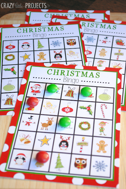 """<p>Print out a handful of <a rel=""""nofollow"""" href=""""http://cf.crazylittleprojects.com/wp-content/uploads/2013/12/Christmasbingo.pdf"""">free Christmas bingo boards</a>, filled with candy canes, snowflakes, and gingerbread men - only the most cheerful, holiday items.</p><p><a rel=""""nofollow"""" href=""""https://www.amazon.com/Milk-Chocolate-Candy-Party-42-Ounce/dp/B0029JIIK4/"""">SHOP M&M'S</a><br></p><p><em><a rel=""""nofollow"""" href=""""http://crazylittleprojects.com/2013/12/christmas-bingo.html"""">Get the tutorial at Crazy Little Projects »</a></em><br></p>"""