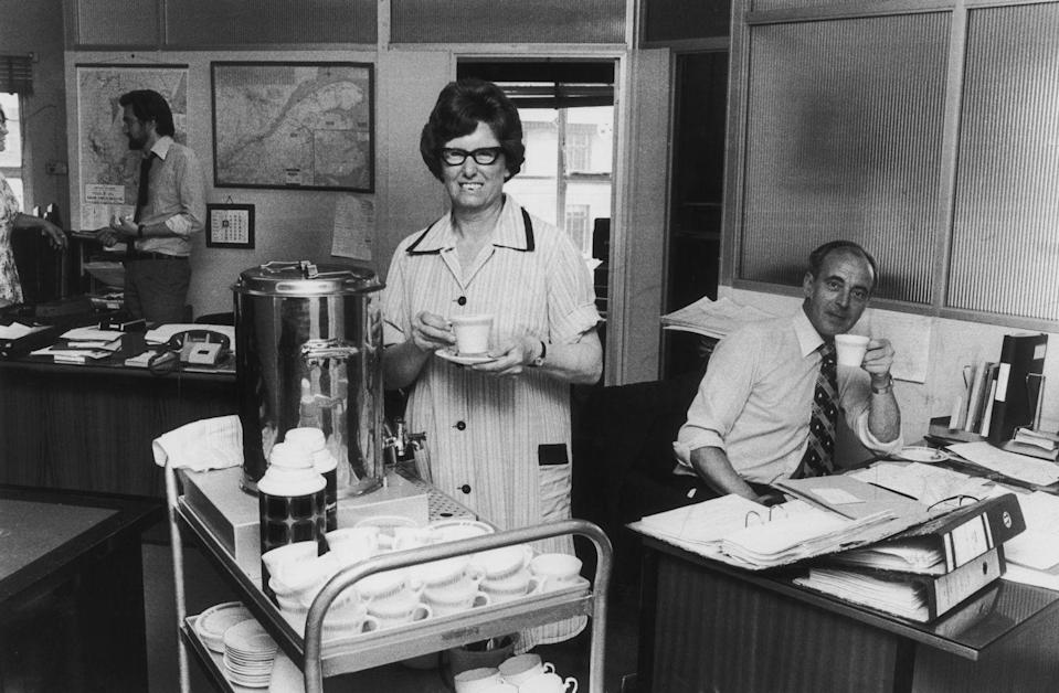 <p>Trolley service was a common sight in office buildings in the 70's. Tea ladies wheeled around a cart of mugs, coffee, tea, and refreshments. Many office workers befriended the tea ladies that served them and exchanged stories and office gossip. This was surely a highlight of the work day! </p>