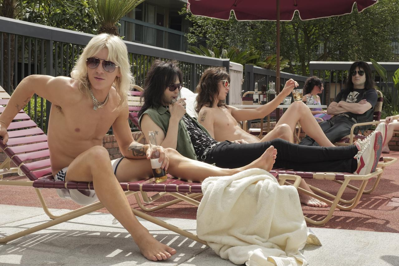 "<p>Metal band Mötley Crüe got the biopic treatment in this Netflix film that tracks their rise from members of the Los Angeles music scene to certified '80s icons. <strong>The Dirt</strong> stars Machine Gun Kelly, Pete Davidson, and <a href=""https://www.popsugar.com/Game-of-Thrones"" class=""ga-track"" data-ga-category=""Related"" data-ga-label=""https://www.popsugar.com/Game-of-Thrones"" data-ga-action=""In-Line Links""><strong>Game of Thrones</strong></a> star Iwan Rheon.</p> <p><strong>Release date:</strong> Mar. 22</p>"