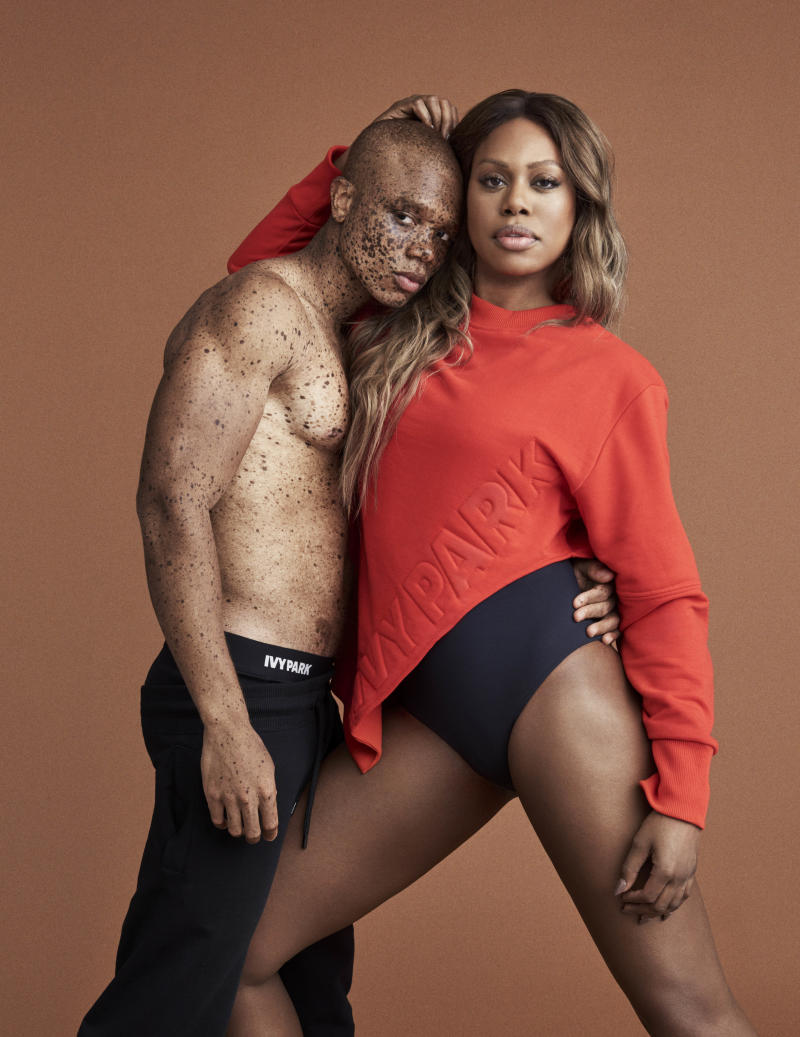 Model Ralph Souffrant and actress Laverne Cox. (Ivy Park)