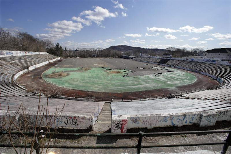 This Thursday, March 14, 2013 photo shows the deteriorating Hinchliffe Stadium, built as a public works project municipal stadium in 1932, in Paterson, N.J. (AP Photo/Mel Evans)