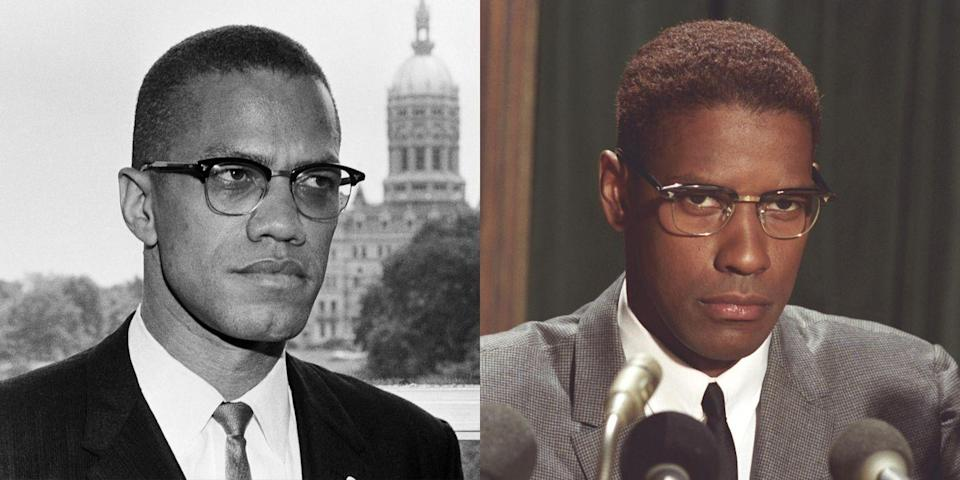 <p>In 1992, Washington donned a pair of striking brow line glasses to play political activist and revolutionary Malcolm X in Spike Lee's adaptation of <em>The Autobiography of Malcolm X</em>. </p>