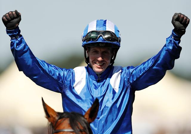 Horse Racing - Royal Ascot - Ascot Racecourse, Ascot, Britain - June 22, 2018 Jim Crowley celebrates winning the 3.40 Commonwealth Cup on Eqtidaar Action Images via Reuters/Andrew Boyers