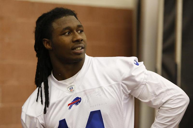 Buffalo Bills first-round draft pick Sammy Watkins relaxes after participating in NFL football rookie camp at the team's facility in Orchard Park, N.Y., Saturday, May 17, 2014. (AP Photo/Bill Wippert)
