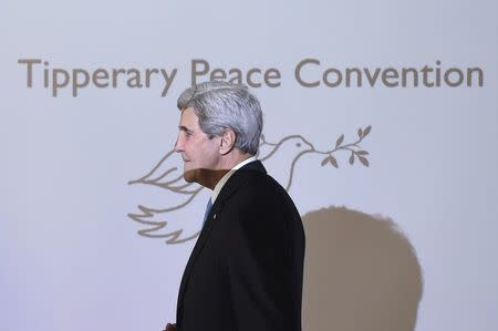 U.S. Secretary of State John Kerry steps on stage to accept the Tipperary International Peace Award in Tipperary, Ireland October 30, 2016. REUTERS/Clodagh Kilcoyne