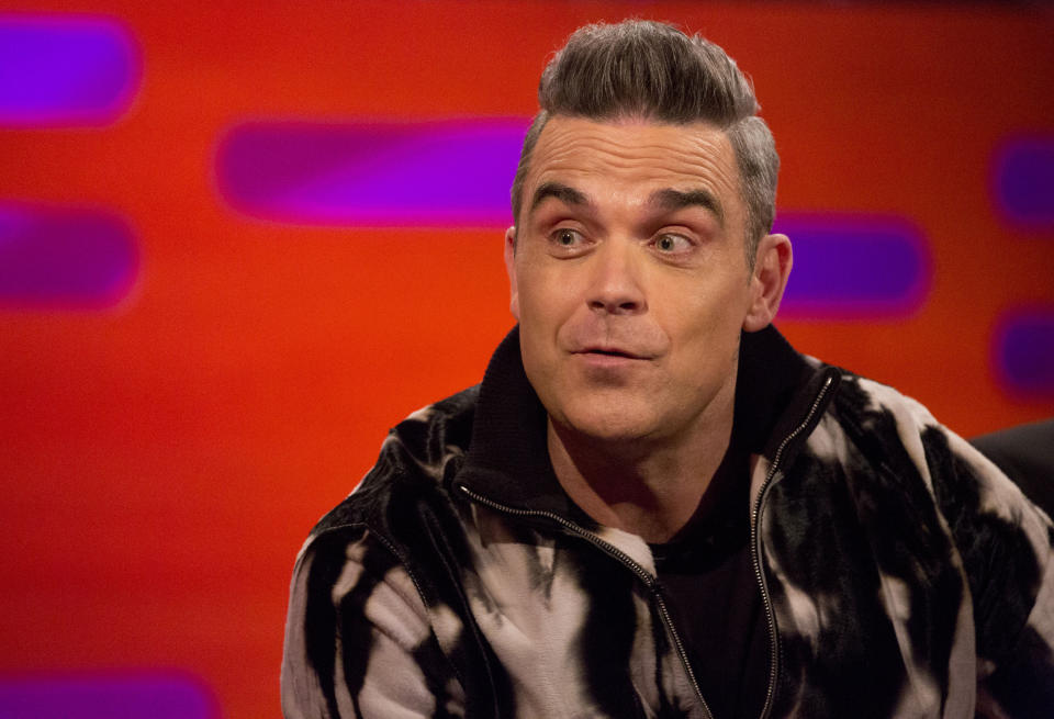 Robbie Williams during filming of the Graham Norton Show at The London Studios, to be aired on BBC One on Friday. PRESS ASSOCIATION. Picture date: Thursday November 30, 2017. Photo credit should read: Isabel Infantes/PA Wire