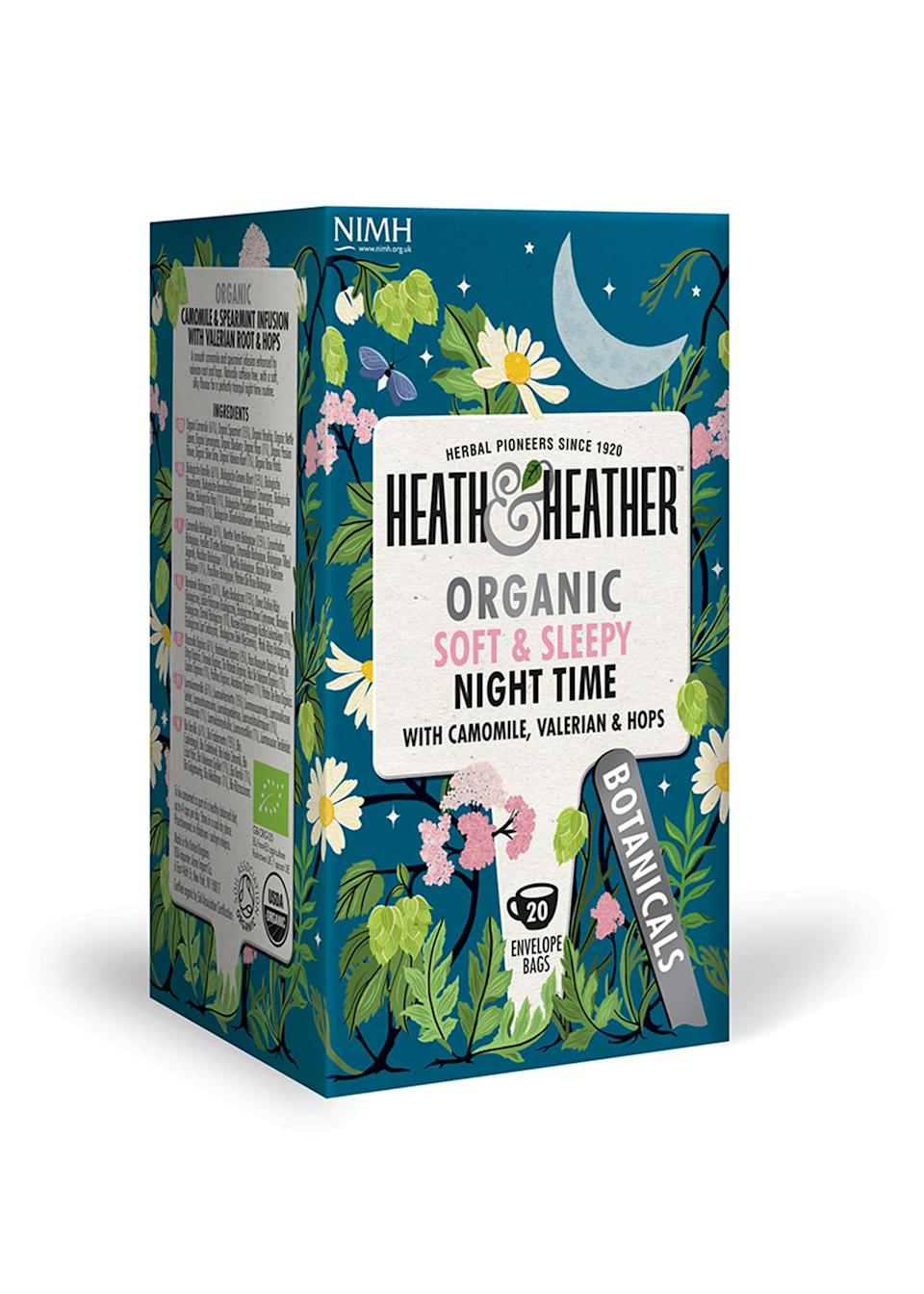 """<p>Ensuring you get a good night's sleep starts well before hitting the pillow, as a (caffeine-free) soothing tea can help ease you into relaxation mode. So kick off your shoes and get stuck into a new book with a hearty cup of smooth camomile and spearmint by Heath & Heather. <a href=""""https://shop.heathandheather.co.uk/products/heath-and-heather-organic-night-time-20-bag"""" rel=""""nofollow noopener"""" target=""""_blank"""" data-ylk=""""slk:Buy here"""" class=""""link rapid-noclick-resp""""><em>Buy here</em></a>. </p>"""