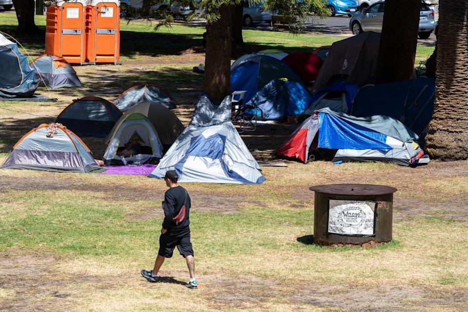 The tent city in Pioneer Park in Fremantle on 22 January, located opposite the office of communities minister Simone McGurk.