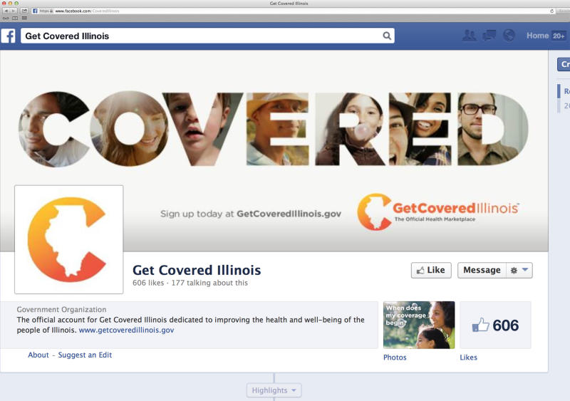 This image shows the Facebook page for the state of Illinois' Get Covered Illinois campaign on Friday, Oct. 18, 2013. The social media campaign, which is arguably the biggest ever rolled out by the state, uses Twitter, Facebook and YouTube to convince young people to buy health insurance under President Barack Obama's health care law. (AP Photo/GetCoveredIllinois.gov)