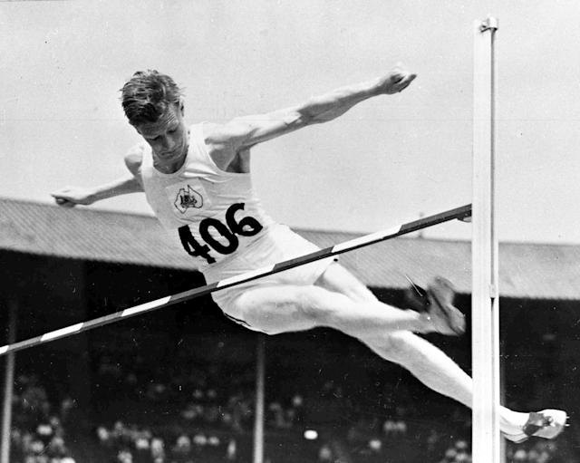 Australia's Jack Winters jumps in the men's Olympic Games High Jump competition, at Wembley Stadium, London, July 30, 1948. He qualified for the next round of the competition. (AP Photo)