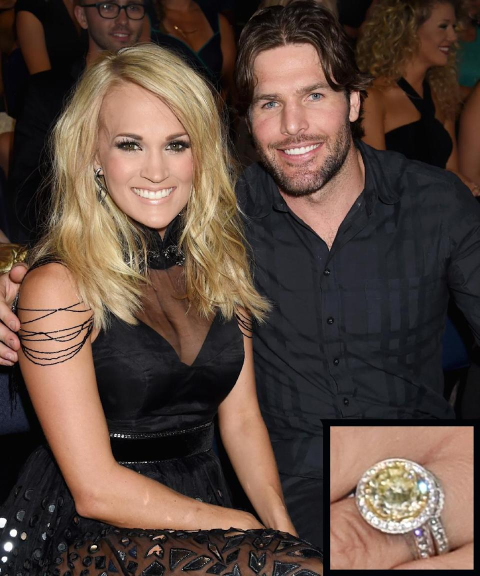 <p>NHL player Mike Fisher proposed to country crooner Carrie Underwood with a 12-carat ring by Jonathon Arndt in 2010. The couple married later that same year.</p>