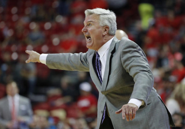 Kansas State head coach Bruce Weber motions to his players during overtime of an NCAA college basketball game against UNLV, Saturday, Nov. 9, 2019, in Las Vegas. (AP Photo/John Locher)