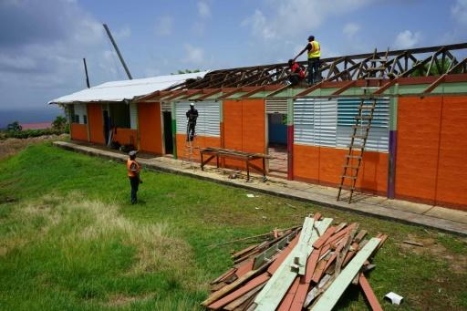 Work is underway to repair a roof to help this Dominican school reopen in September 2018 in Atkinson, Dominica