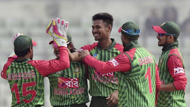 Bangladesh raced to an eight-wicket victory over Zimbabwe on Monday in the opening match of the tri-nation series.