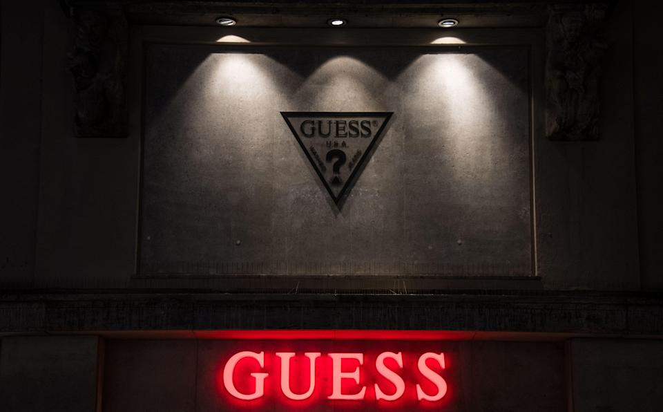 A view of a Guess store logo sign in Munich, Germany Brands in Munich, Germany - 11 Mar 2017