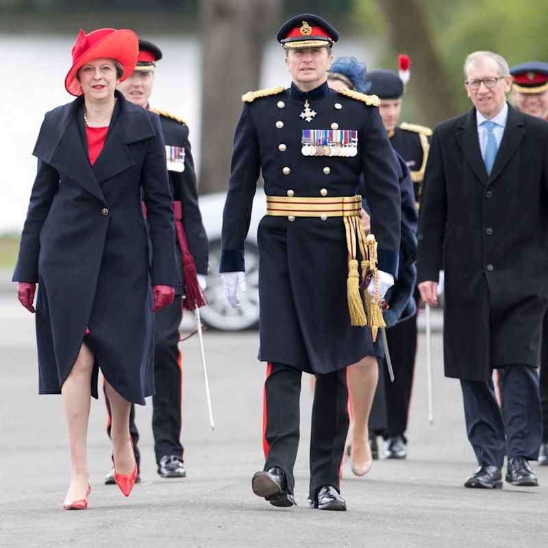 Prime Minister Theresa May represents Queen Elizabeth II at the Sovereign's Parade at the Royal Military Academy, Sandhurst, - Credit:  Paul Grover/The Daily Telegraph