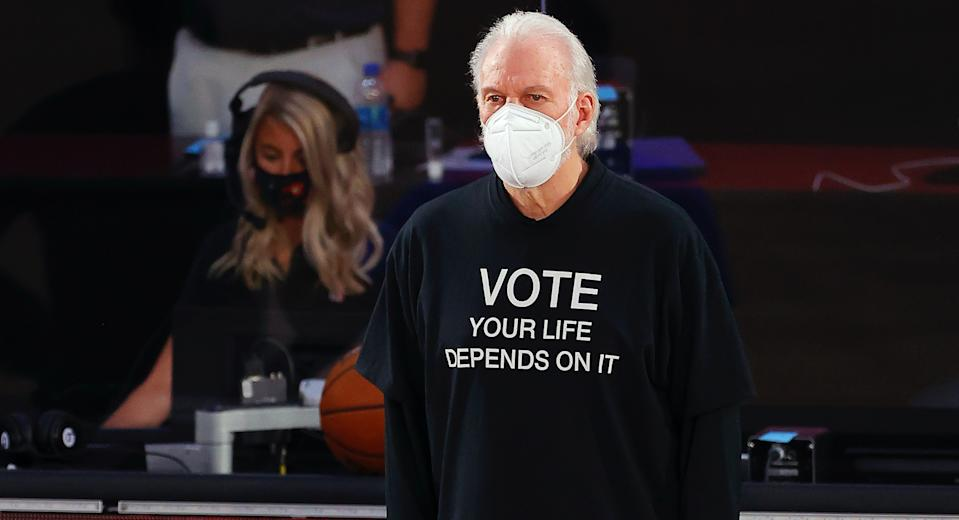 Gregg Popovich wears his message on his chest.