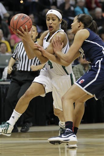 Notre Dame guard Skylar Diggins (4) tries to move around Connecticut guard Bria Hartley (14) during the first half of the NCAA women's Final Four semifinal college basketball game, in Denver, Sunday, April 1, 2012. (AP Photo/Julie Jacobson)