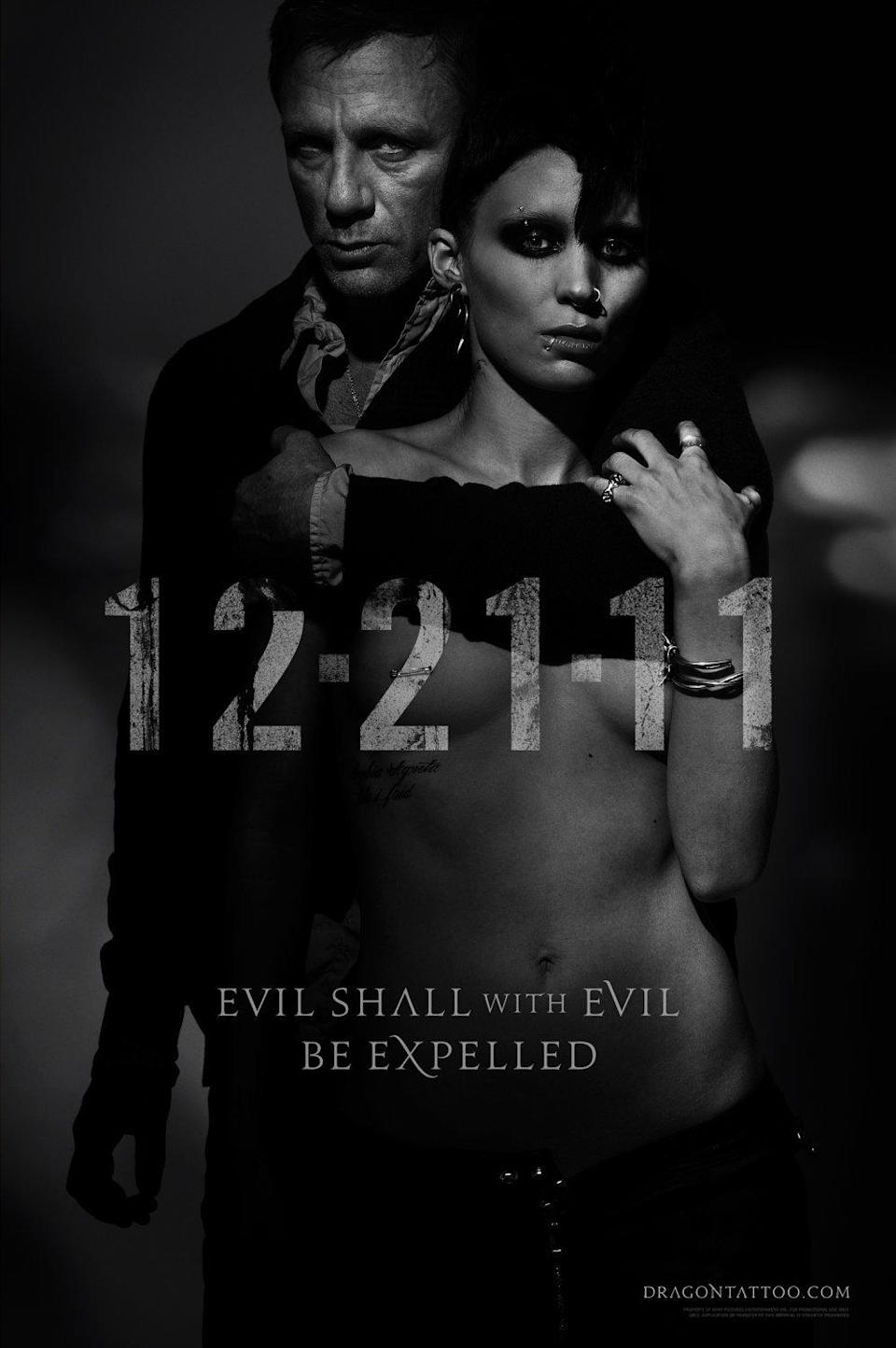 <p><b>Why it was banned: </b>Boobs, basically. Sony created two versions of this moody black and white poster – one showing off Lisbeth Salander, nipple ring and all, plus another with her 'assets' obscured. Both were banned by the MPAA. If the sight of an errant nipple put them off their breakfast, we hope the censors weren't eating when they watched what Lisbeth does to her tormentors in the actual movie.</p>