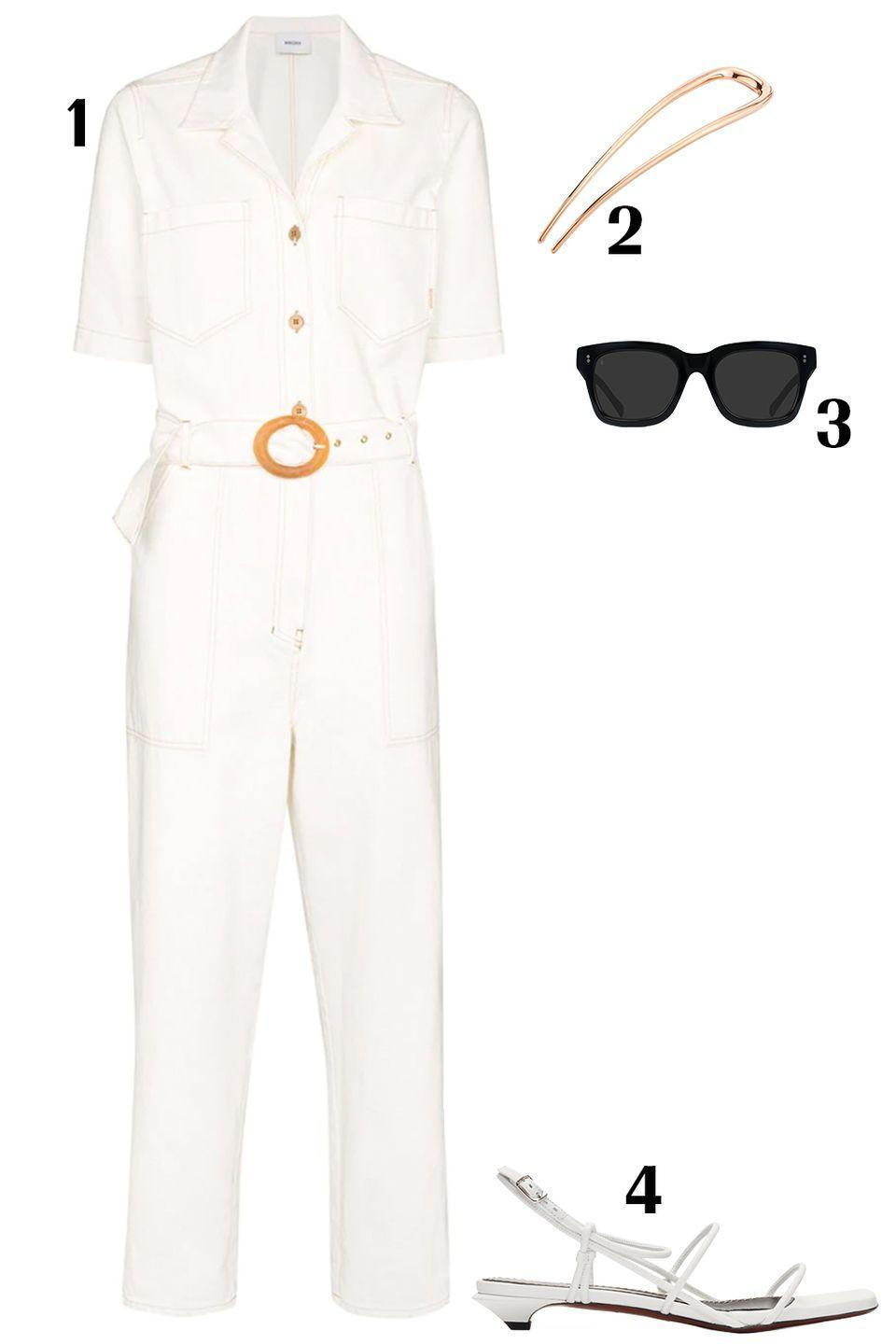 "<p>Here is your dress alternative - a jumpsuit. Add a strappy sandal and a chic pin in your hair and you're dressed and ready to go in two minutes flat.</p><p>1) <a href=""https://www.farfetch.com/shopping/women/nanushka-arlo-denim-jumpsuit-item-14607044.aspx?fsb=1&size=20&storeid=10346&clickref=1100l83utrqy&utm_source=shopstyle&utm_medium=affiliate&utm_campaign=PHUS&utm_term=USNetwork&pid=performancehorizon_int&c=shopstyle&clickid=1100l83utrqy&af_siteid=1101l510&af_sub_siteid=1011l270&af_cost_model=CPA&af_channel=affiliate&is_retargeting=true"" rel=""nofollow noopener"" target=""_blank"" data-ylk=""slk:Nanushka jumpsuit"" class=""link rapid-noclick-resp"">Nanushka jumpsuit</a>, $321 2) <a href=""https://deborahpagani.com/products/large-hair-pin"" rel=""nofollow noopener"" target=""_blank"" data-ylk=""slk:Deborah Pagani hair pin"" class=""link rapid-noclick-resp"">Deborah Pagani hair pin</a>, $90 3)<a href=""https://raen.com/products/gilman-square-sunglasses?variant=7459234218045"" rel=""nofollow noopener"" target=""_blank"" data-ylk=""slk:Raen sunglasses"" class=""link rapid-noclick-resp""> Raen sunglasses</a>, $150 4) <a href=""https://www.ssense.com/en-us/women/product/proenza-schouler/white-strappy-low-kitten-heel-sandals/4671411?clickref=1101l83ibfas&utm_source=PH_1101l510&utm_medium=affiliate&utm_content=0&utm_term=https%3A%2F%2Fwww.shopstyle.com%2F&utm_campaign="" rel=""nofollow noopener"" target=""_blank"" data-ylk=""slk:Proenza Schouler sandals"" class=""link rapid-noclick-resp"">Proenza Schouler sandals</a>, $620</p>"
