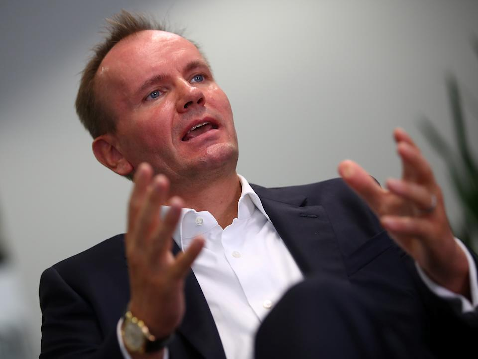 Markus Braun, CEO of Wirecard AG, an independent provider of outsourcing and white label solutions for electronic payment transactions, gestures during a Reuters interview at the company's headquarters in Aschheim near Munich, Germany September 6, 2018. REUTERS/Michael Dalder