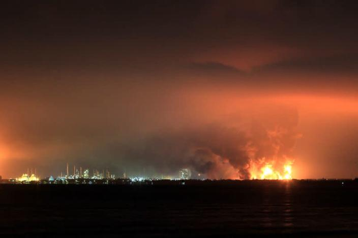 Smoke rises during fire at Pertamina's oil refinery in Balongan, Indramayu regency