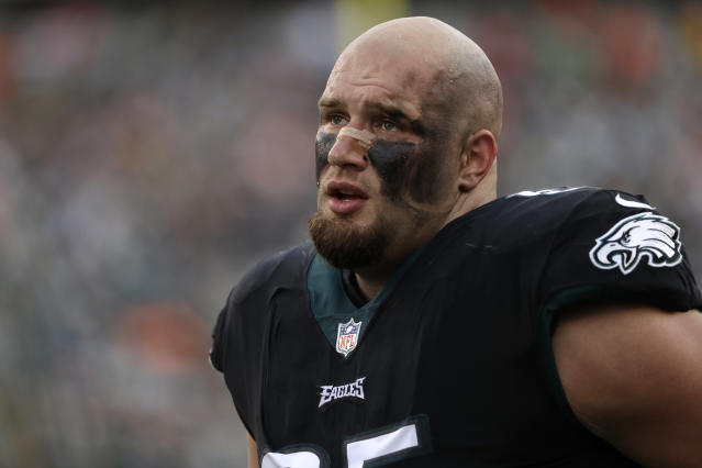 As usual, Lane Johnson did not filter himself when talking about the Patriots in an interview with Steve Austin. (AP)