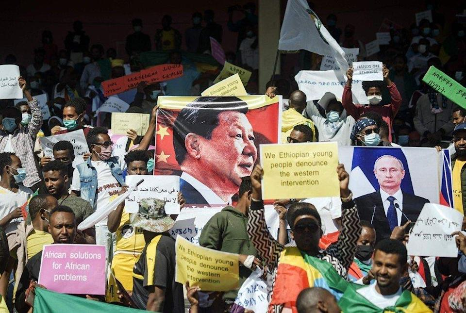 Protesters rally in Addis Ababa, Ethiopia against the United States imposing restrictions on economic and security assistance over the conflict in the Tigray region in May. Photo: AFP