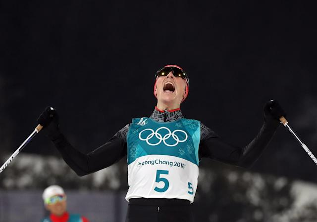 Nordic Combined Events – Pyeongchang 2018 Winter Olympics – Men's Individual 10km Final – Alpensia Cross-Country Skiing Centre - Pyeongchang, South Korea – February 14, 2018 - Eric Frenzel of Germany celebrates his win. REUTERS/Carlos Barria