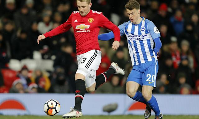 Manchester United's Luke Shaw in action during the team's FA Cup quarter-final against Brighton.