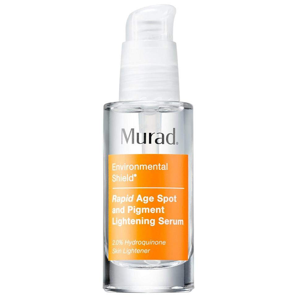 "<p>Both sizes of this <a href=""https://www.popsugar.com/buy/Murad-Rapid-Age-Spot-Pigment-Lightening-Serum-586761?p_name=Murad%20Rapid%20Age%20Spot%20and%20Pigment%20Lightening%20Serum&retailer=sephora.com&pid=586761&price=15&evar1=bella%3Aus&evar9=47589683&evar98=https%3A%2F%2Fwww.popsugar.com%2Fbeauty%2Fphoto-gallery%2F47589683%2Fimage%2F47594188%2FMurad-Rapid-Age-Spot-Pigment-Lightening-Serum&prop13=mobile&pdata=1"" class=""link rapid-noclick-resp"" rel=""nofollow noopener"" target=""_blank"" data-ylk=""slk:Murad Rapid Age Spot and Pigment Lightening Serum"">Murad Rapid Age Spot and Pigment Lightening Serum</a> ($15-$43, originally $25-$72) are on sale this weekend . . . but the brightening and fading of dark spots, sun spots, or uneven skin tone will go on and on.</p>"