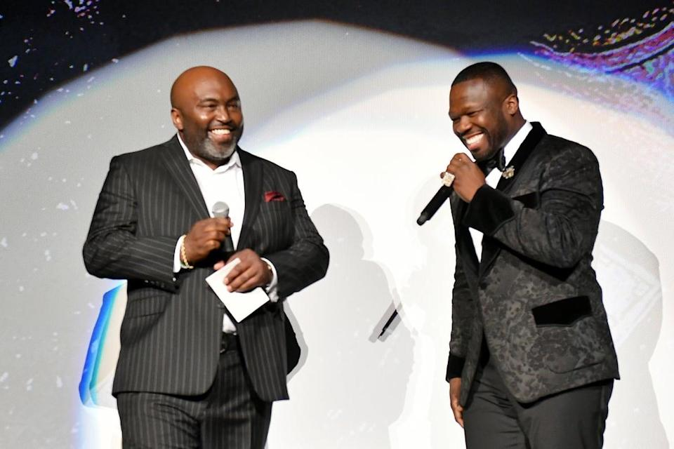 """<div class=""""inline-image__caption""""><p>Randy Huggins and 50 Cent at the <em>BMF</em> world premiere at Cellairis Amphitheatre, Lakewood, Sept. 23, 2021, in Atlanta, Georgia. </p></div> <div class=""""inline-image__credit"""">Paras Griffin/Getty</div>"""