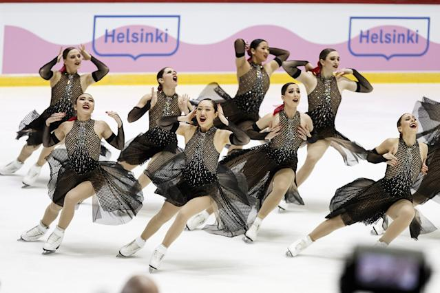 ISU World Synchronized Skating Championships 2019 - Short Program - Helsinki Ice Hall, Helsinki, Finland - April 12, 2019. Team Haydenettes of the U.S. competes. Lehtikuva/Roni Rekomaa via REUTERS ATTENTION EDITORS - THIS IMAGE WAS PROVIDED BY A THIRD PARTY. NO THIRD PARTY SALES. NOT FOR USE BY REUTERS THIRD PARTY DISTRIBUTORS. FINLAND OUT. NO COMMERCIAL OR EDITORIAL SALES IN FINLAND.