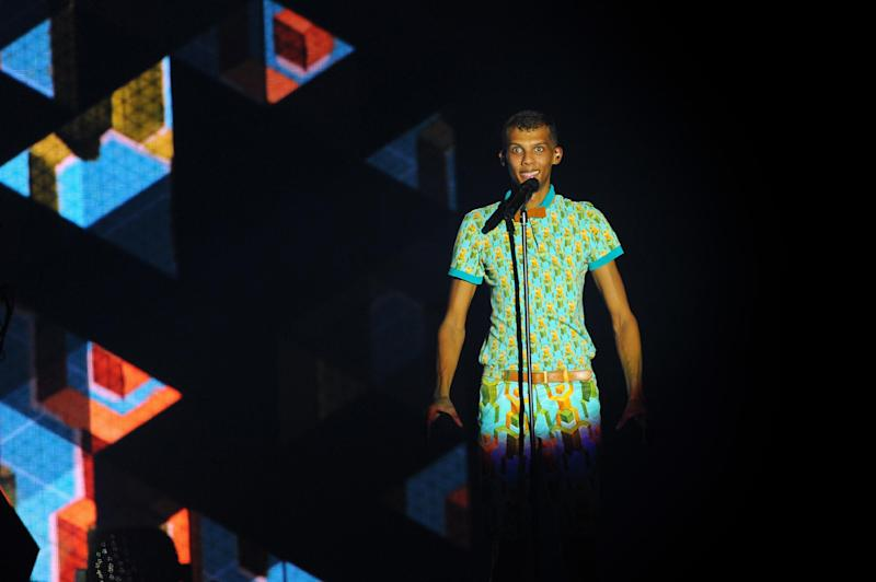 Belgian singer Stromae performs on the main stage of the Francofolies music Festival in La Rochelle, France, on July 14, 2014