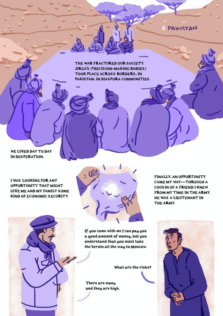 Comic showing Afghan man being asked to traffic drugs.