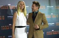 """US actor Robert Downey Jr. (R) and US actress Gwyneth Paltrow poses during the """"Iron Man 3"""" photocall in Munich, southern Germany, on April 12, 2013. The movie will open on May 1, 2013 in the German cinemas. AFP PHOTO/CHRISTOF STACHE (Photo credit should read CHRISTOF STACHE/AFP via Getty Images)"""