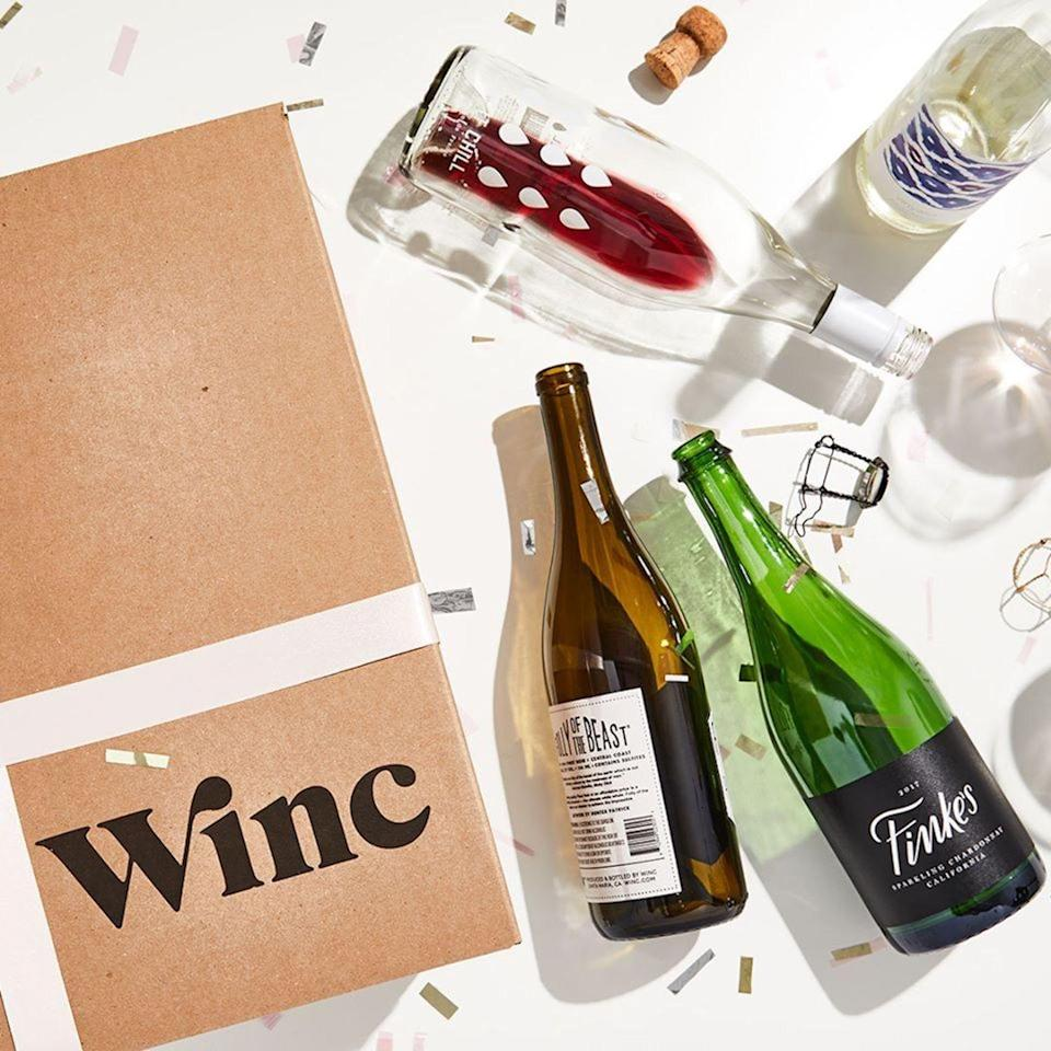 """<p><strong>Winc</strong></p><p>www.winc.com</p><p><strong>$59.95</strong></p><p><a href=""""https://go.redirectingat.com?id=74968X1596630&url=https%3A%2F%2Fwww.winc.com%2F&sref=https%3A%2F%2Fwww.cosmopolitan.com%2Fhealth-fitness%2Fg37130486%2Fbest-self-care-subscription-boxes%2F"""" rel=""""nofollow noopener"""" target=""""_blank"""" data-ylk=""""slk:Shop Now"""" class=""""link rapid-noclick-resp"""">Shop Now</a></p><p>It's simple: You get four bottles of wine sent straight to your door every month based on a five-question quiz. It's truly the *most* personalized thing on this list.</p>"""