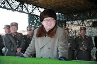 North Korean leader Kim Jong Un watches landing and anti-landing exercises being carried out by the Korean People's Army (KPA) at an unknown location, in this undated photo released by North Korea's Korean Central News Agency (KCNA) in Pyongyang on March 20, 2016. REUTERS/KCNA