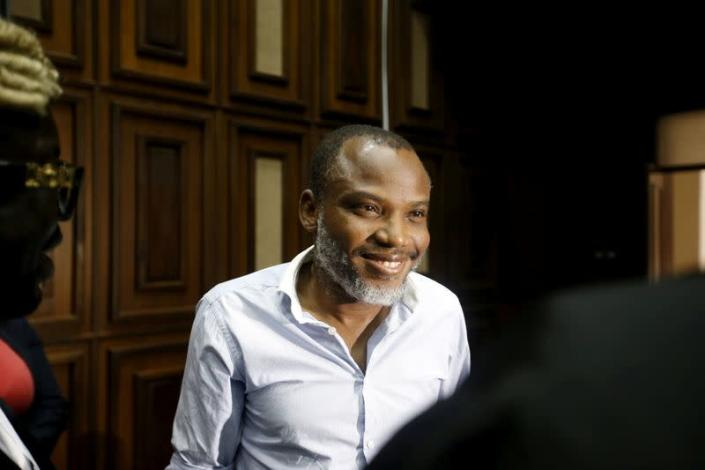 FILE PHOTO: Indigenous People of Biafra (IPOB) leader Nnamdi Kanu is seen at the Federal high court Abuja, Nigeria