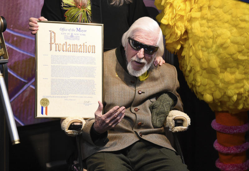 Sesame Street puppeteer Caroll Spinney who died aged 85 on Sunday.