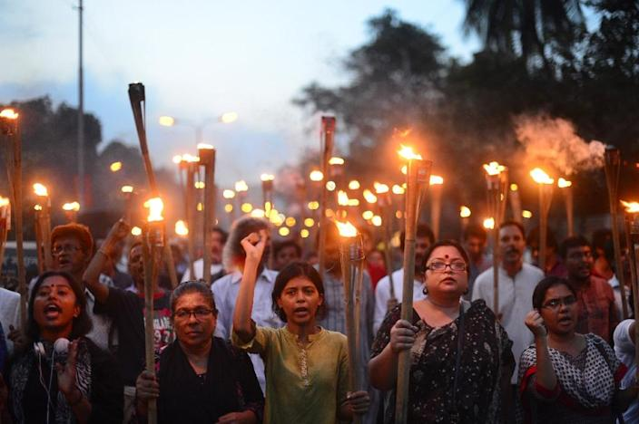 Tensions are running high in Bangladesh after a series of killings of secular bloggers and a publisher as well as the murders of two foreigners (AFP Photo/Munir Uz Zaman)