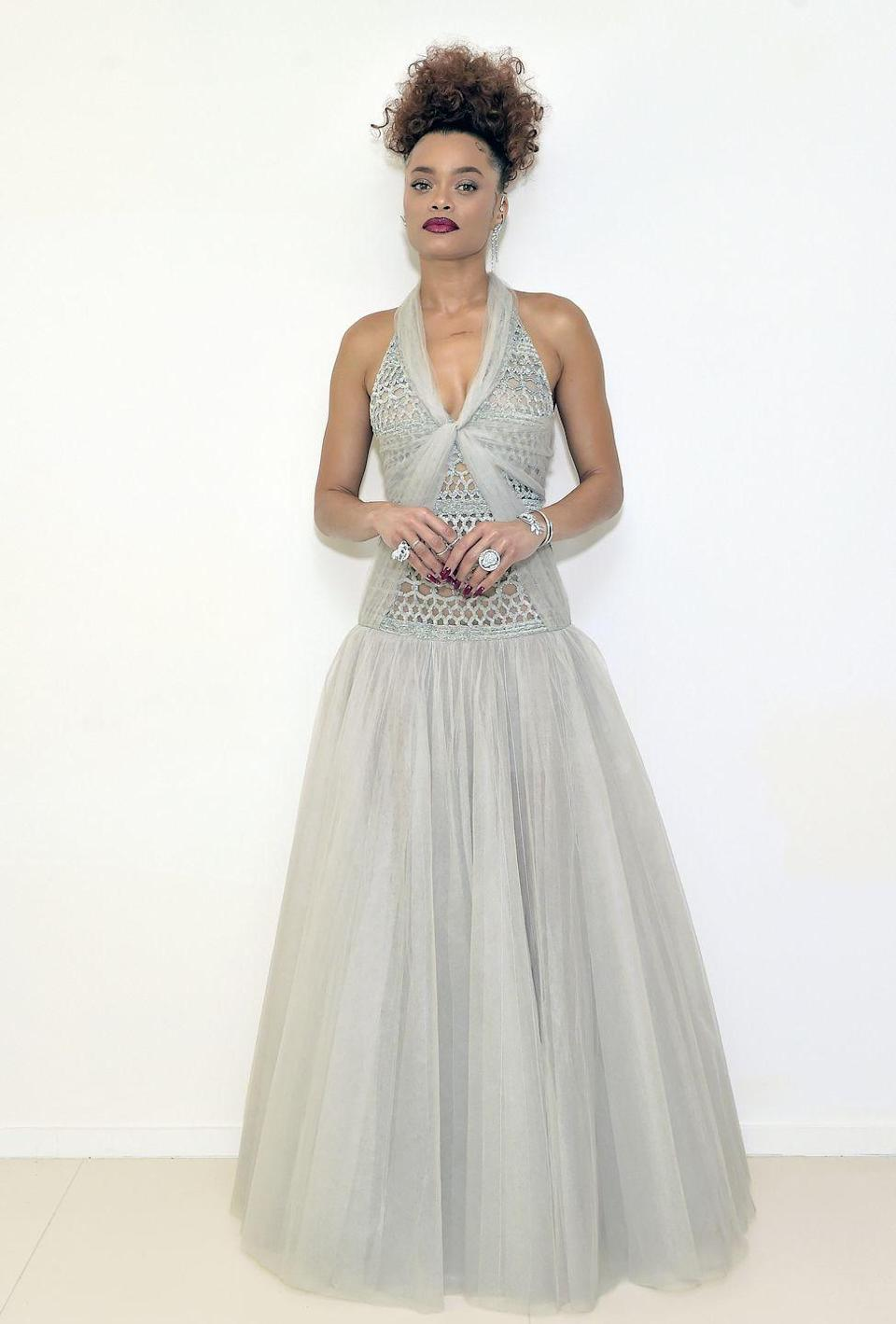"<p><strong>What:</strong> Chanel</p><p><strong>Why:</strong> The Best Actress nominee, for her turn in ""The United States vs. Billie Holiday,"" is stunning in a long gray silk tulle dress with a fully embroidered, sequin macramé bodice from the Haute Couture collection. It's just the right amount of elegance and whimsy.</p>"
