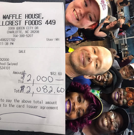 "<p>While on the road with New Kids on the Block, the singer left his servers at a chain restaurant a $2,000 tip on an $82 check. ""My mom waited tables, and my dad tended bars — for years!,"" he wrote. ""So, when I walk into a #WaffleHouse, and the staff treats me like a king, you better believe I treat them like queens! Thanks to the team at @wafflehouseofficial Charlotte, NC!"" (Photo: <a href=""https://www.instagram.com/p/BWeXT74Hk6N/?taken-by=donniewahlberg&hl=en"" rel=""nofollow noopener"" target=""_blank"" data-ylk=""slk:Donnie Wahlberg via Instagram"" class=""link rapid-noclick-resp"">Donnie Wahlberg via Instagram</a>) </p>"