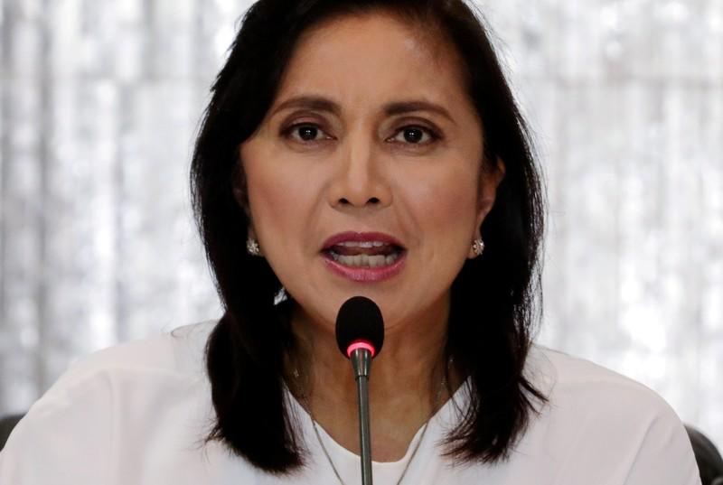 FILE PHOTO: Philippines Vice President Maria Leonor Robredo speaks during her first meeting with a drug war task force