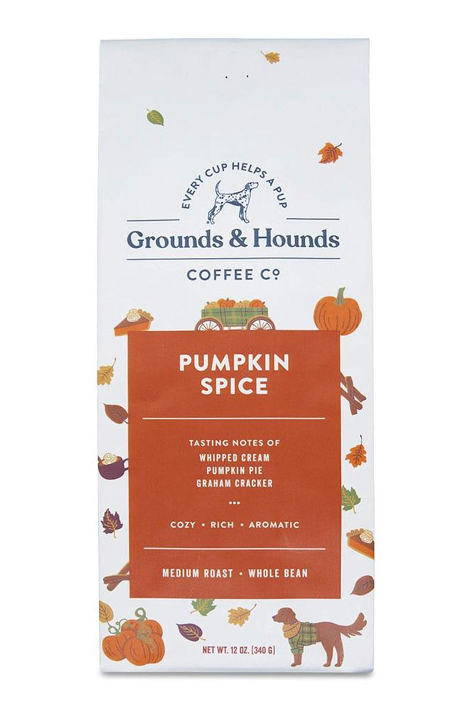 """<p>A portion of the proceeds from this pumpkin spice coffee you can brew at home go to animal rescue initiatives across the country. </p> <p><strong>Buy it!</strong> Pumpkin Spice Coffee, $13.99; <a href=""""https://groundsandhoundscoffee.com/collections/coffee-homepage/products/pumpkin-spice-coffee"""" rel=""""sponsored noopener"""" target=""""_blank"""" data-ylk=""""slk:GroundsandHoundsCoffeee.com"""" class=""""link rapid-noclick-resp"""">GroundsandHoundsCoffeee.com</a></p>"""