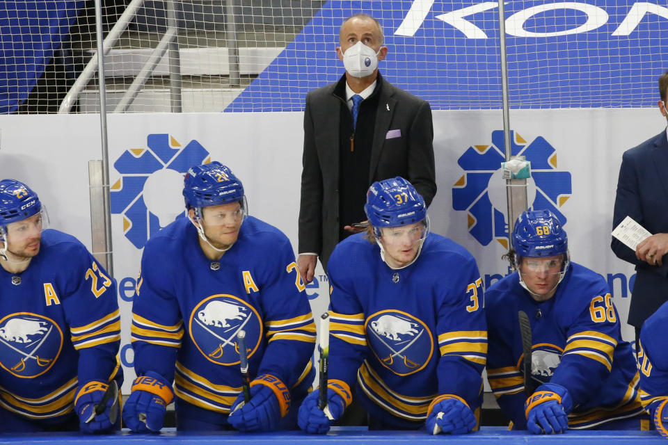 Buffalo Sabres interim head coach Don Granato looks on during the third period of an NHL hockey game against the Boston Bruins, Thursday, March 18, 2021, in Buffalo, N.Y. (AP Photo/Jeffrey T. Barnes)